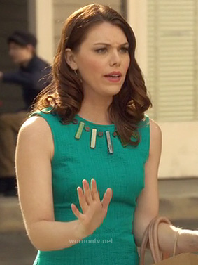 Anna Beth's green mini dress with stone neck line on Hart of Dixie