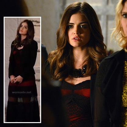 Aria's red and black sheer maxi dress on PLL