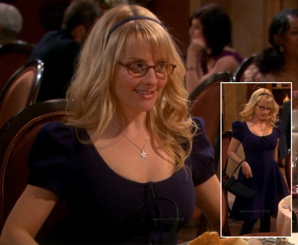 Bernadette's navy blue dress with puffy sleeves and silver star necklace on The Big Bang Theory