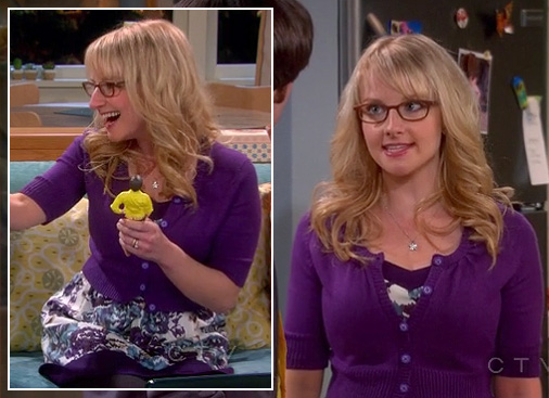 Bernadette's purple blue and white floral dress on The Big Bang Theory