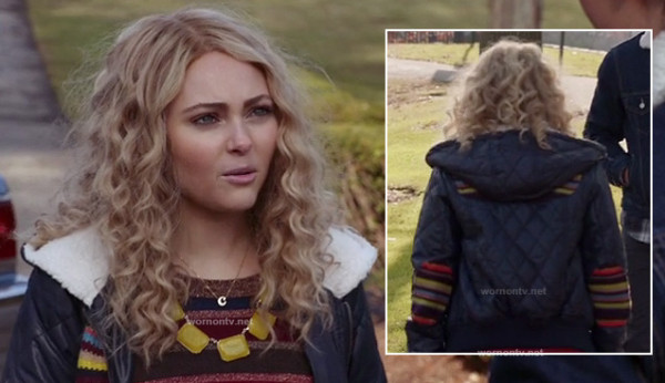 Carrie's blue quilted jacket with multicolored elbow patches on The Carrie Diaries