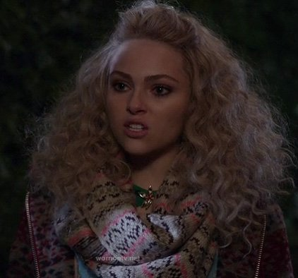 Carrie's fair isle scarf and jacket on The Carrie Diaries