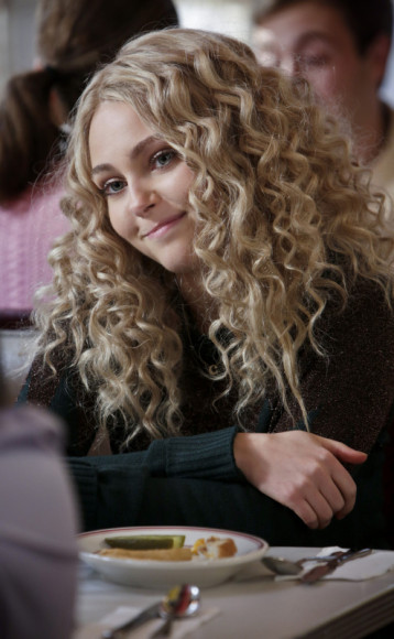 Carrie Bradshaws dark green jumper with black metallic zig zag top on The Carrie Diaries