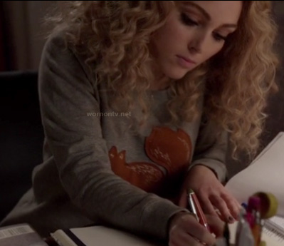 Carrie's grey squirrel sweater on The Carrie Diaries