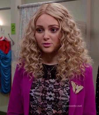 Carrie's lace dress with pink blazer and butterfly pin on The Carrie Diaries