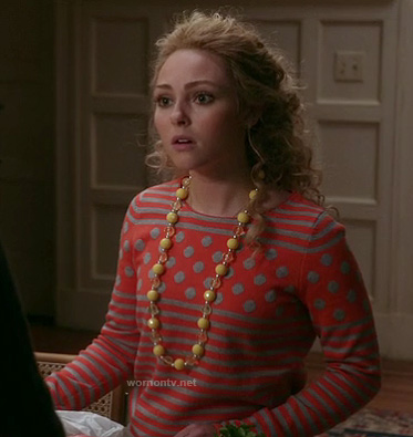 Carrie's orange polka dot and striped sweater on The Carrie Diaries