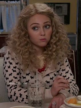 Carrie's white scottie/dog print cardigan on The Carrie Diaries