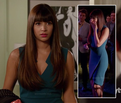 Cece's teal blue tulip dress on New Girl