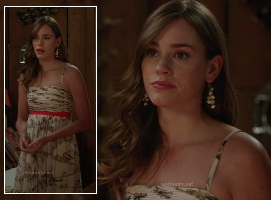 Charlotte's bird print maxi dress on Revenge