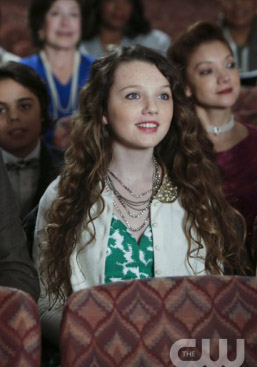 Dorrit's green and white dress with embellished collar cardigan on The Carrie Diaries
