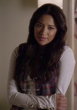 Emily's white henley top with crochet sleeves and plaid sleeveless shirt on Pretty Little Liars