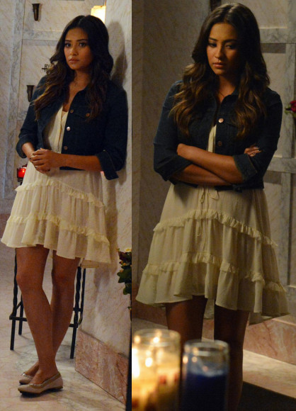 Emily's white tiered dress on PLL