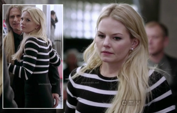 Emma Swan's black and white striped sweater dress on OUAT