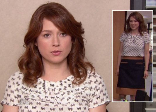 Erin's bow print top and navy pencil skirt on The Office