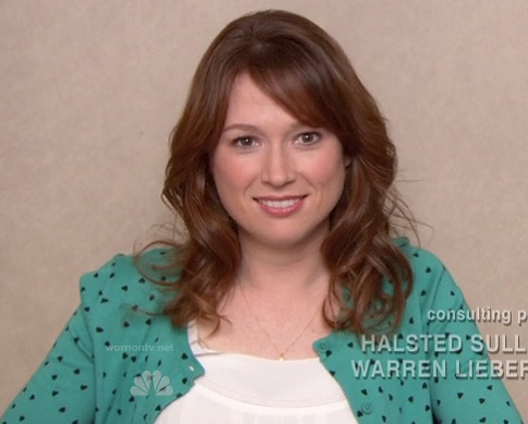 Erin's green heart print sweater on The office