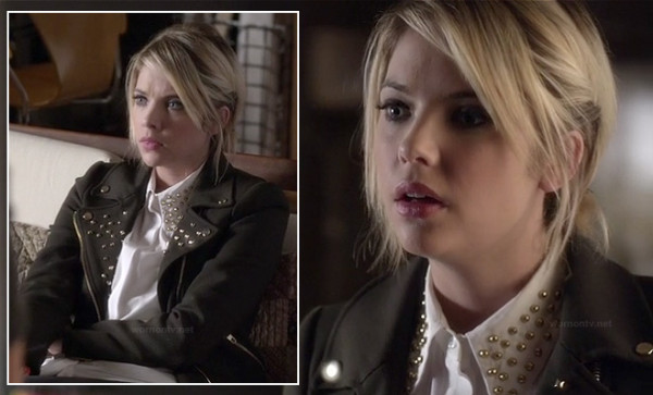 Hanna's black studded jacket and white shirt on PLL
