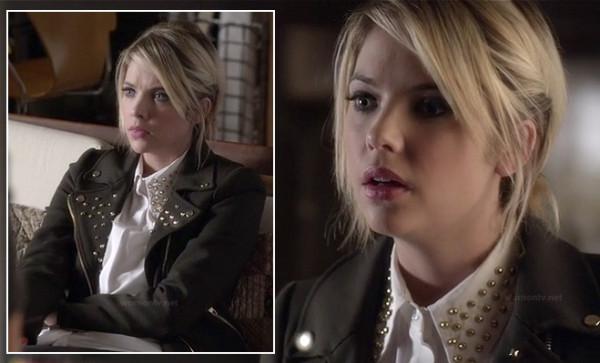 Hanna's black studded jacket and white shirt on PLL