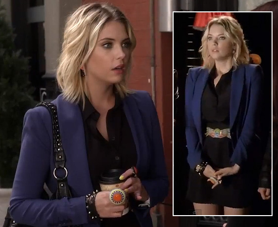 Hanna's blue blazer, black shirtdress and orange circle statement ring on Pretty Little Liars