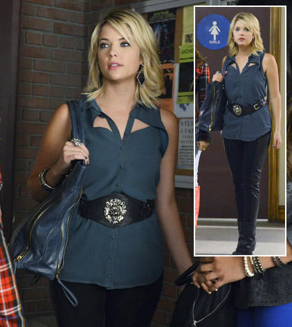 Hanna's blue cutout shirt, wide black belt and black bag on Pretty Little Liars