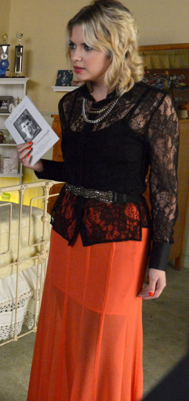 Hanna's orange maxi skirt and black lace shirt on PLL