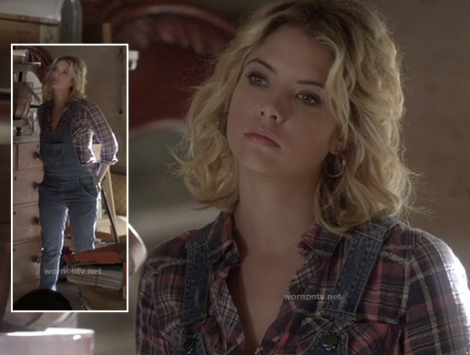 Hanna's pink plaid shirt and denim overalls on Pretty Little Liars