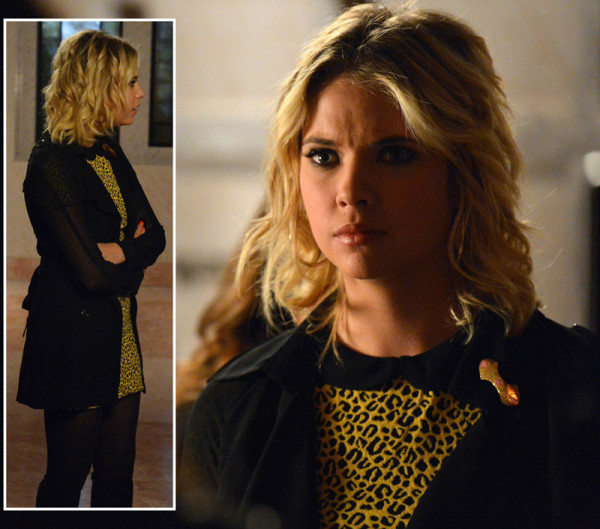 Hanna's yellow and black leopard print dress on PLL