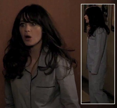 Jess's light blue pajamas on New Girl
