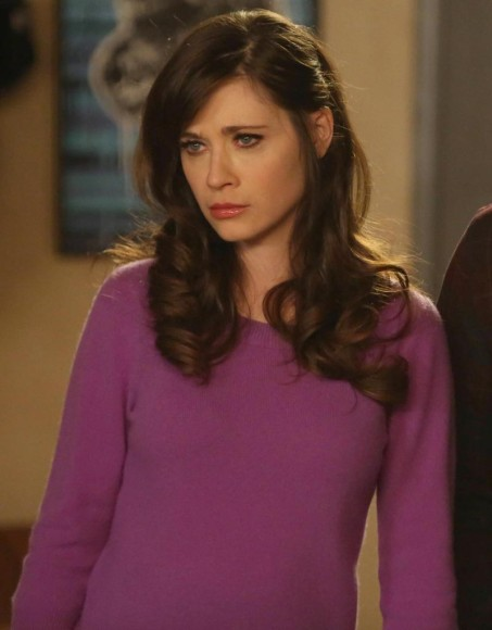 Jess Day's purple pullover with bow sleeves on New Girl