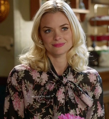 Lemon's black floral blouse with bow on Hart of Dixie