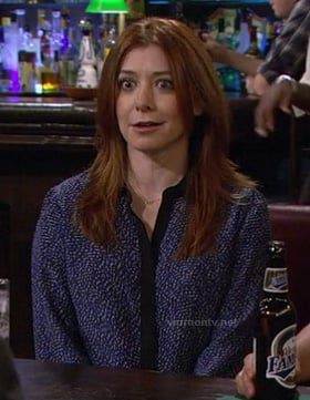 Lily's blue printed shirt with black contrast trim on How I Met Your Mother
