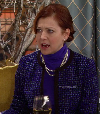 Lily's blue tweed/boucle jacket with black trim on How I Met Your Mother