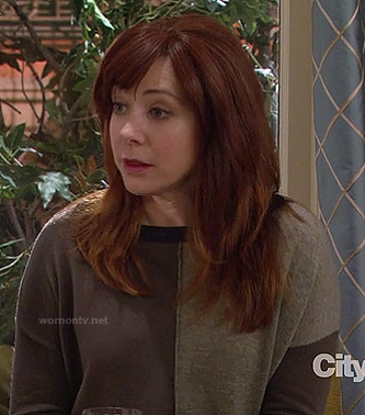Lily's brown colorblock sweater on How I Met Your Mother