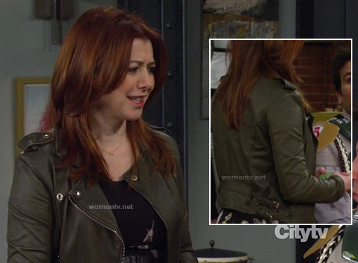 Lily's khaki green leather jacket on HIMYM