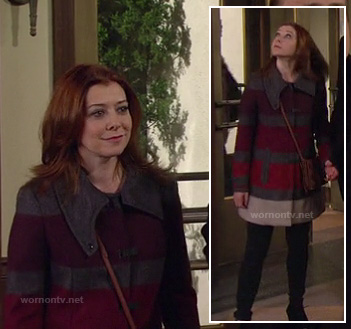 Lily's grey, red and purple thick stripe coat on How I Met Your Mother