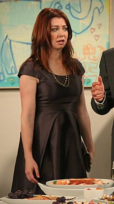 Lily's metallic grey dress with front pleats on How I Met Your Mother