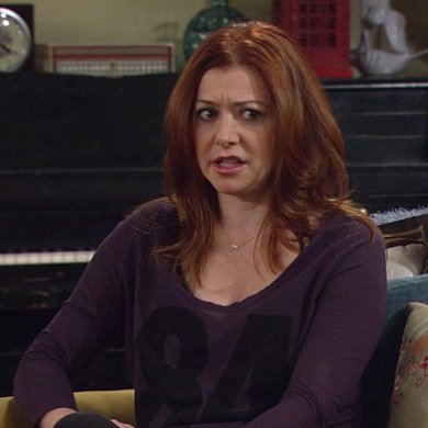 Lilys purple 84 shirt on HIMYM
