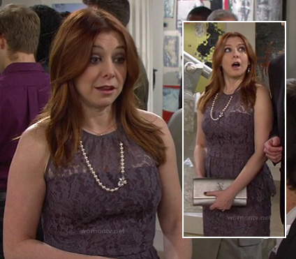 Lily's grey/purple lace peplum dress and silver clutch on How I Met Your Mother