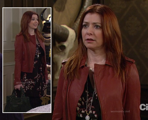 Wornontv Lily S Red Leather Jacket Black Dress And Green