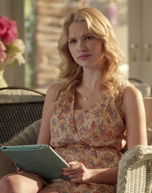 Magnolia's peach floral wrap dress on Hart of Dixie