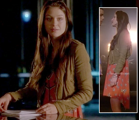 Marley's orange dipped hem dress and cropped moto jacket on Glee