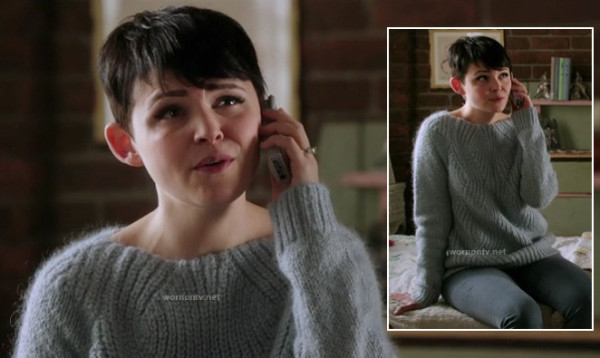 Snow White's blue grey fuzzy pullover on Once Upon a Time