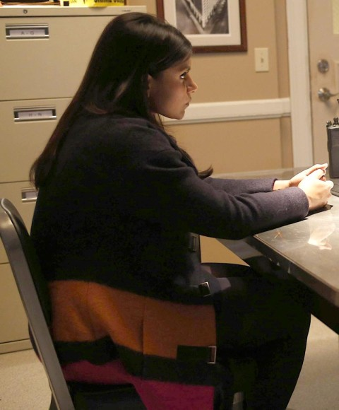 Mindys navy orange pink colorblock coat on The Mindy Project