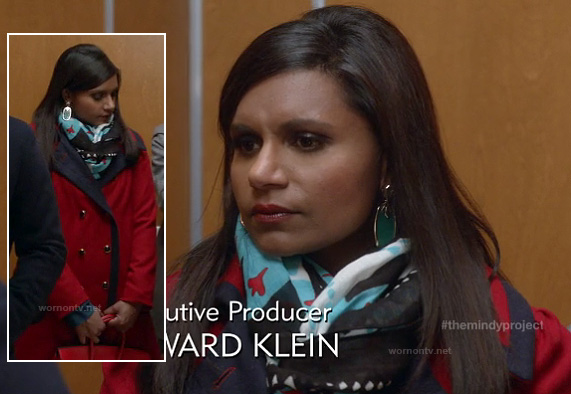 Mindy's red coat and blue scarf on The Mindy Project