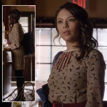 Mona's beige bird print dress on Pretty Little Liars