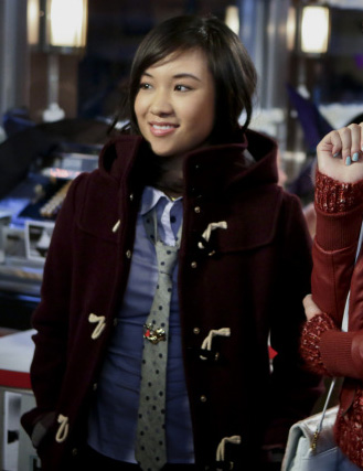 Jills burgundy duffle coat and grey polka dot tie on The Carrie Diaries