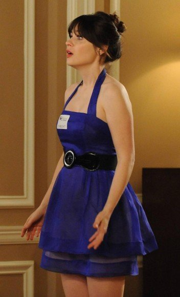 Jess's blue halter dress at the wedding on New Girl