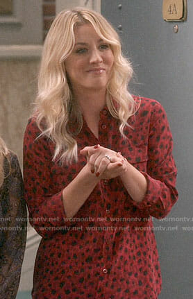 Penny's red leopard print shirt on The Big Bang Theory