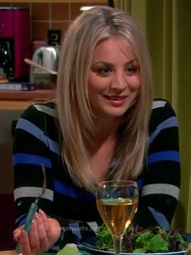 Penny's black and blue striped cardigan on The Big Bang Theory