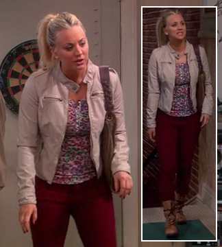 Penny's pink leopard print top with cream jacket and dark red jeans on The Big Bang Theory