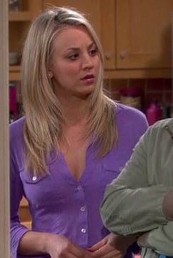 Penny's purple button front shirt with pockets on The Big Bang Theory